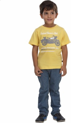 Trmpi Graphic Print Boy's Round Neck Yellow T-Shirt