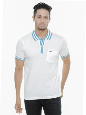 Wexford Solid Men's Polo Neck White T-Shirt