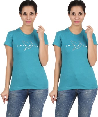 Twin Birds Printed Women's Round Neck Blue T-Shirt