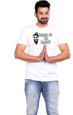 Clotone Printed Men's Round Neck White T-Shirt