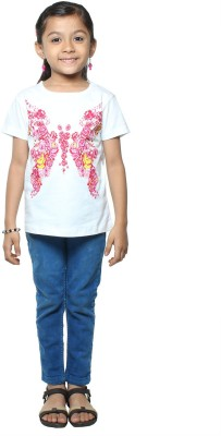 STOP by Shoppers Stop Printed Girl,s Round Neck White T-Shirt