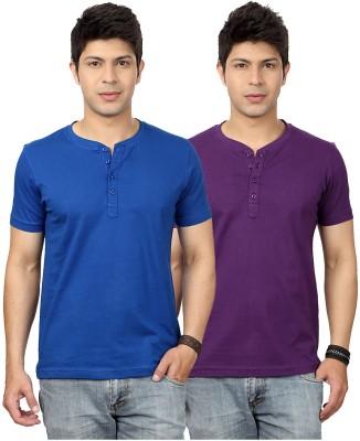 Top Notch Solid Men's Henley Blue, Purple T-Shirt