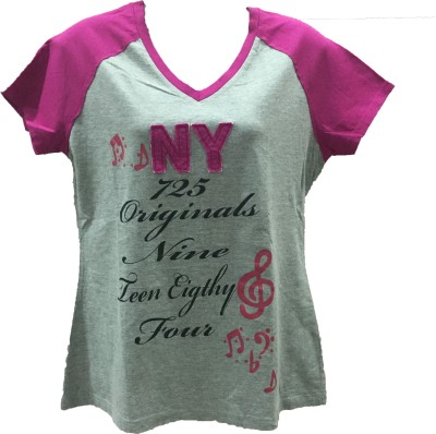 Dovekie Printed Women's V-neck Grey, Pink T-Shirt