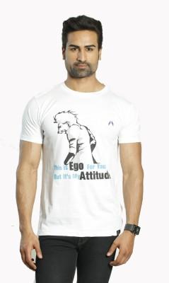 ALBITEN Printed Men's Round Neck White T-Shirt