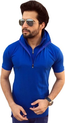 TEES COLLECTION Solid Men's Flap Collar Neck Blue T-Shirt