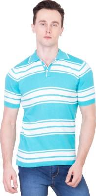 Ganzm Striped Men's Polo Neck Blue T-Shirt