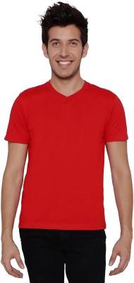 Threadz Solid Men's V-neck Red T-Shirt