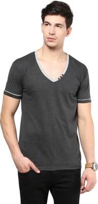 Izinc Solid Men,s V-neck Grey T-Shirt
