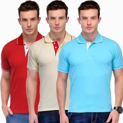 Scott International Solid Men's Polo Red, Light Blue, Yellow T-Shirt