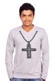 Amla Printed Men's V-neck Grey T-Shirt