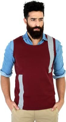 Mr Button Solid Men's Round Neck Maroon T-Shirt