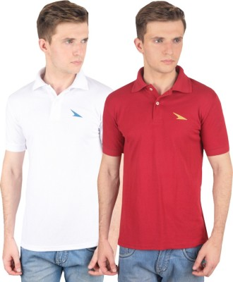 PRO Lapes Solid Men's Polo Neck White, Maroon T-Shirt
