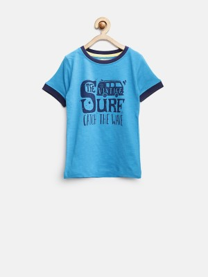 YK Printed Boy's Round Neck Blue T-Shirt