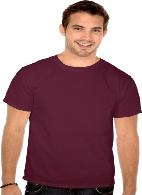 Officers Choice Solid Men's Round Neck Brown T-Shirt