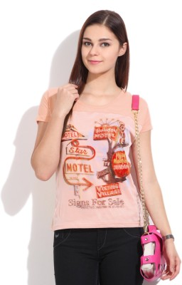 Flying Machine Printed Women's Round Neck Pink T-Shirt