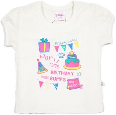 Solittle Printed Baby Girl's Round Neck White T-Shirt