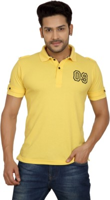 Goplay Solid Men's Polo Neck Yellow T-Shirt