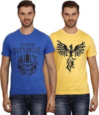 Crush on Craze Printed Men's Round Neck Blue, Yellow T-Shirt