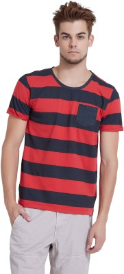 Breakbounce Striped Men's Round Neck Red T-Shirt