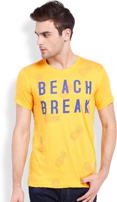 Locomotive Printed Men's Round Neck Yellow T-Shirt
