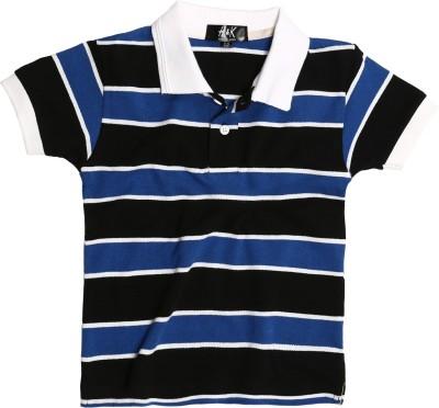 H&K Striped Boy's Polo Neck Blue T-Shirt