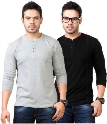 Top Notch Solid Men's Henley Grey, Black T-Shirt