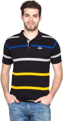 Fort Collins Striped Men's Polo Neck Black T-Shirt