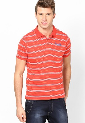 Camino Striped Men's Polo Red T-Shirt