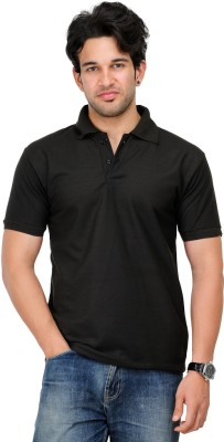 TSX Sportsman Solid Men's Polo Black T-Shirt