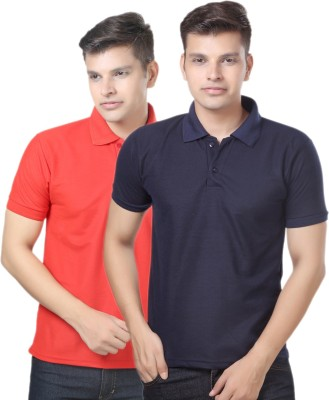 eSOUL Solid Men's Polo Neck Dark Blue, Red T-Shirt