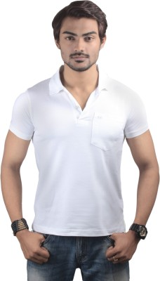 Spur Solid Men's Polo Neck White T-Shirt