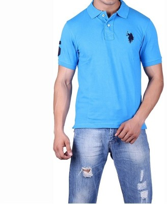 Ganesh Creation Solid Men's Polo Neck Blue T-Shirt