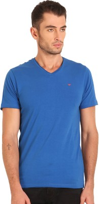 Sting Solid Men's V-neck Blue T-Shirt