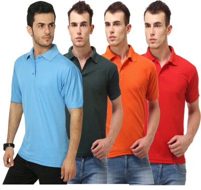 Lime Solid Men's Polo Neck Light Blue, Dark Green, Orange, Red T-Shirt