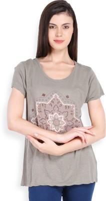 Ten on Ten Printed Women's Round Neck Grey T-Shirt