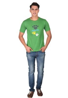 Tohfaa Printed Men's Round Neck Green T-Shirt