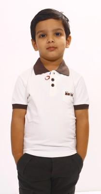Bio Kid Printed Boy's Polo White T-Shirt