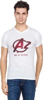 Vidyuth Traders Printed Men's V-neck White T-Shirt