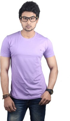Spur Solid Men's Round Neck Purple T-Shirt