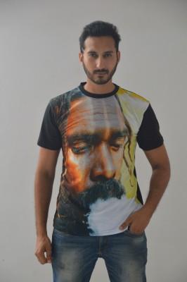 IZMOKE Printed Men's Round Neck Black T-Shirt