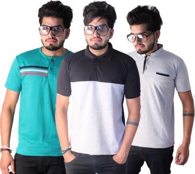 Martech Solid Men's Polo Neck Black, Green, Grey T-Shirt