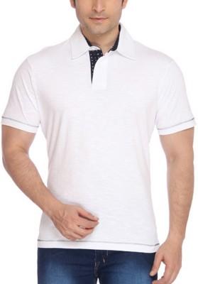 Parx Printed Men's Flap Collar Neck White T-Shirt