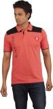 Moxi Printed Men's Polo Neck Pink T-Shir...