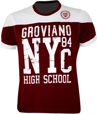 Groviano Printed Men's Round Neck Maroon T-Shirt