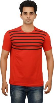 Huntler Striped Men's Round Neck Orange T-Shirt