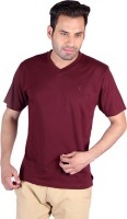 Humbert Solid Men's V-neck Maroon T-Shirt