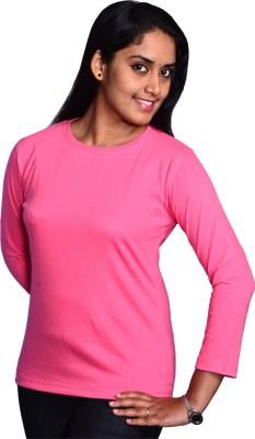 Zorba Mart Solid Women's Round Neck Pink T-Shirt