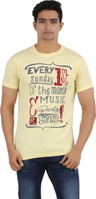 R - Cross Printed Men's Round Neck Yellow T-Shirt
