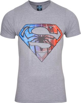 Mangoman Printed Men's Round Neck Grey T-Shirt