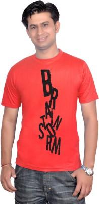 Brand Teez Printed Men's Round Neck Red T-Shirt